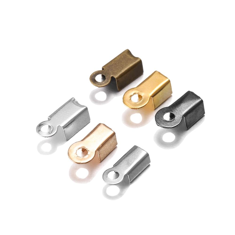 200 adet/grup Metal uç kapakları altın bronz ucu klipsler deri kordon sıkma boncuk konnektörler DIY takı yapımı bulguları