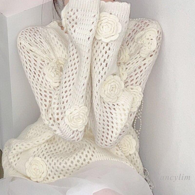 Handmade Crochet Hollow-out Sweater Women's Summer Autumn Ice Silk Thin Pullover Knitwear Nancylim