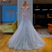 Fashion Design Long Prom Dresses 2019 Arabic Feathers Formal Evening Dresses Vestidos De Fiesta Cocktail Dress Party Custom