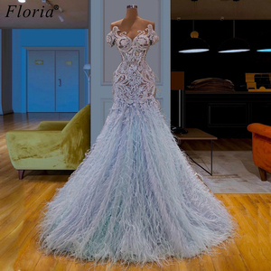 Image 1 - Fashion Design Long Prom Dresses 2019 Arabic Feathers Formal Evening Dresses Vestidos De Fiesta Cocktail Dress Party Custom