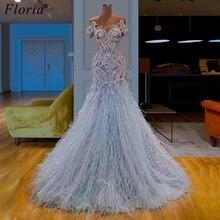 Robe De soirée longue, Design à la mode, avec plumes arabes, robe De soirée De standing, personnalisée, 2019