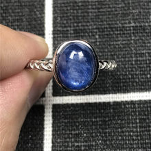 Natural Blue Kyanite Beads Ring For Women Men Crystal 11x10mm Cat Eye Bead Love Anniversary Gift Adjustable Ring Jewelry AAAAA(China)