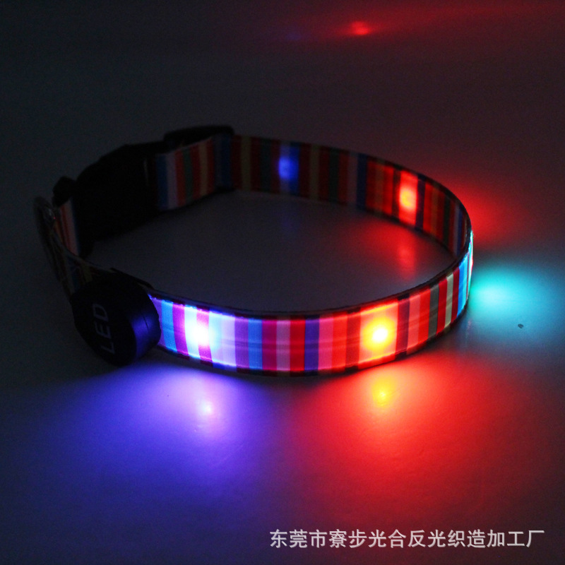 Pet Supplies Integrally Molded Android USB Charging Rainbow LED Luminous Dog Collar Dog Traction Rope