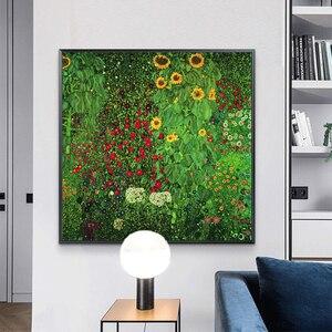 Gustav klimt flores quadros em tela na parede arte posters e cópias fazenda jardim com girassóis imagem da arte para casa decoração