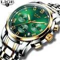 Montres hommes 2019 LIGE haut marque de luxe vert mode chronographe mâle Sport étanche tout acier Quartz horloge Relogio Masculino