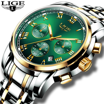 LIGE Top Brand Luxury Green Fashion Chronograph Male Sport Waterproof Clock