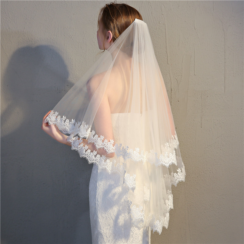 Europe And America Top Grade Water Soluble Lace Bride Veil Short Korean Style Simple Shuang Ceng Dai Comb Wedding Accessories Cu