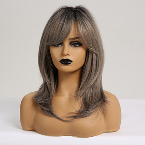 Image 2 - EASIHAIR Medium Length Ash Grey Synthetic Wigs for Women Wigs with Bangs Layered Cosplay Wigs Blonde Daily Heat Resistant Wigs