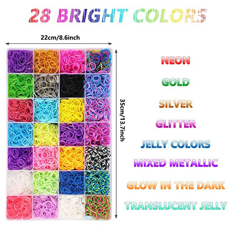 10000PC Rubber Loom Bands Set Kid DIY Bracelet Silicone Rubber Bands Elastic Rainbow Weave Loom Bands Toy Children Goods DIY Toy