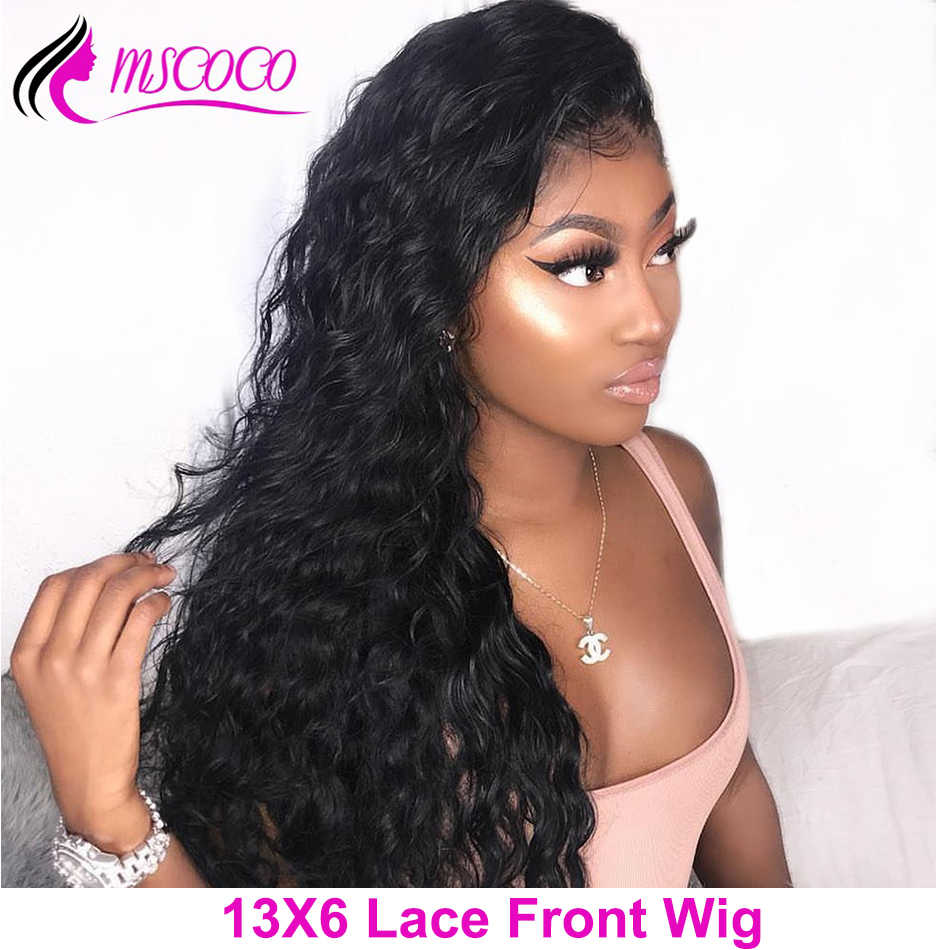 Mscoco 13x6 Lace Front Wig Water Wave Wig Lace Front Human Hair Wigs Pre Plucked 150 180 220 Density Remy Brazilian Lace Wig