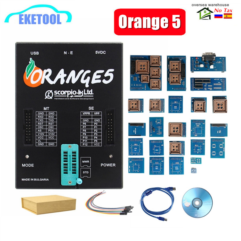 New OEM Orange5 With Full Adapter Professional Full Packet Hardware +Enhanced Function Software Orange 5 Plus V1.35 With Russian