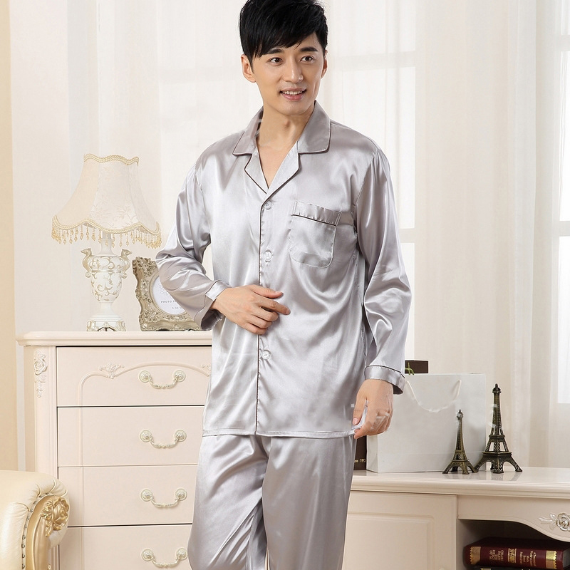 Pajamas Sets Men Turn-down Collar Solid Simple Soft Single Breasted Daily Homewear Mens Trendy Leisure Pockets Pijama Hombre