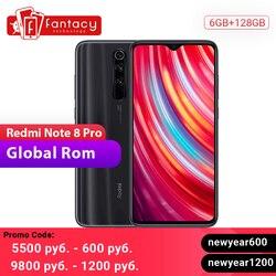 Global ROM Xiaomi Redmi Note 8 Pro 6GB 128GB Mobiele Telefoon 64 MP Quad Camera 6.53 ''FHD + Screen 4500mAh 18W QC 3.0 UFS 2.1