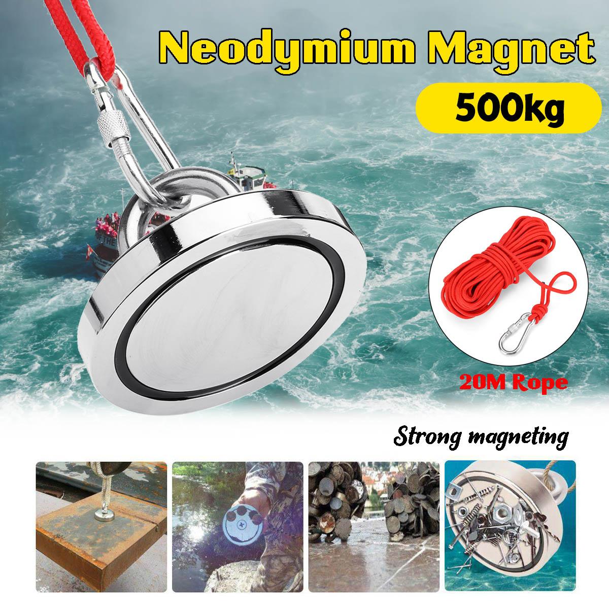 Aimants de pêche de néodyme de Double face de 500 KG, diamètre de 90 Mm, aimant combiné de terre Rare de Force de traction