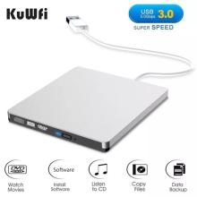 KuWFI-grabador de DVD externo USB 3,0 RW, Unidad óptica CD/DVD ROM, reproductor MAC OS, Windows XP/7/8/10