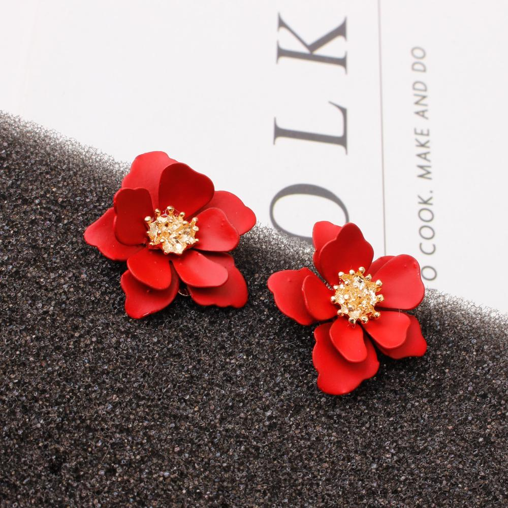 European American big matte paint flower earrings sweet and natural temperament accessories fashion ethnic style wild earrings|Stud Earrings| |  - AliExpress