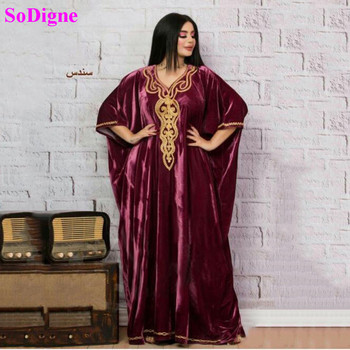 SoDigne Muslim Algeria Evening Dresses Gold Appliques Long Sleeves Velvet Arabic Kaftan Dubai Prom Dress Party Gown