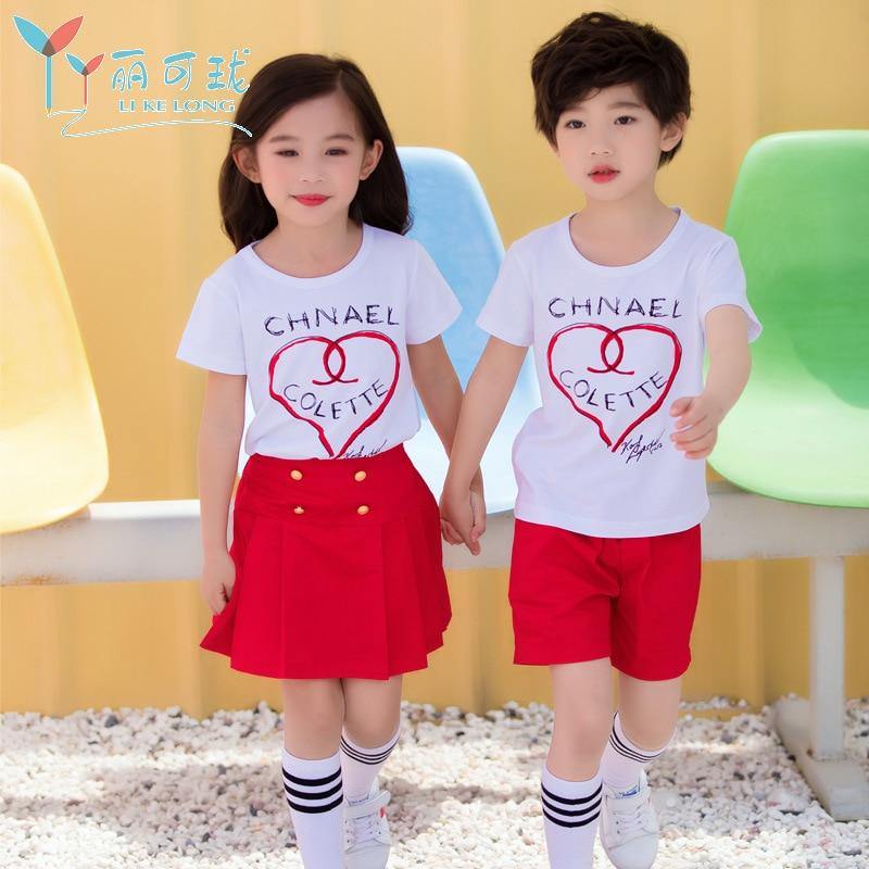 Kindergarten School Uniform-Style Men And Women Children Business Attire Two-Piece Set Young STUDENT'S Summer School Uniform Kin