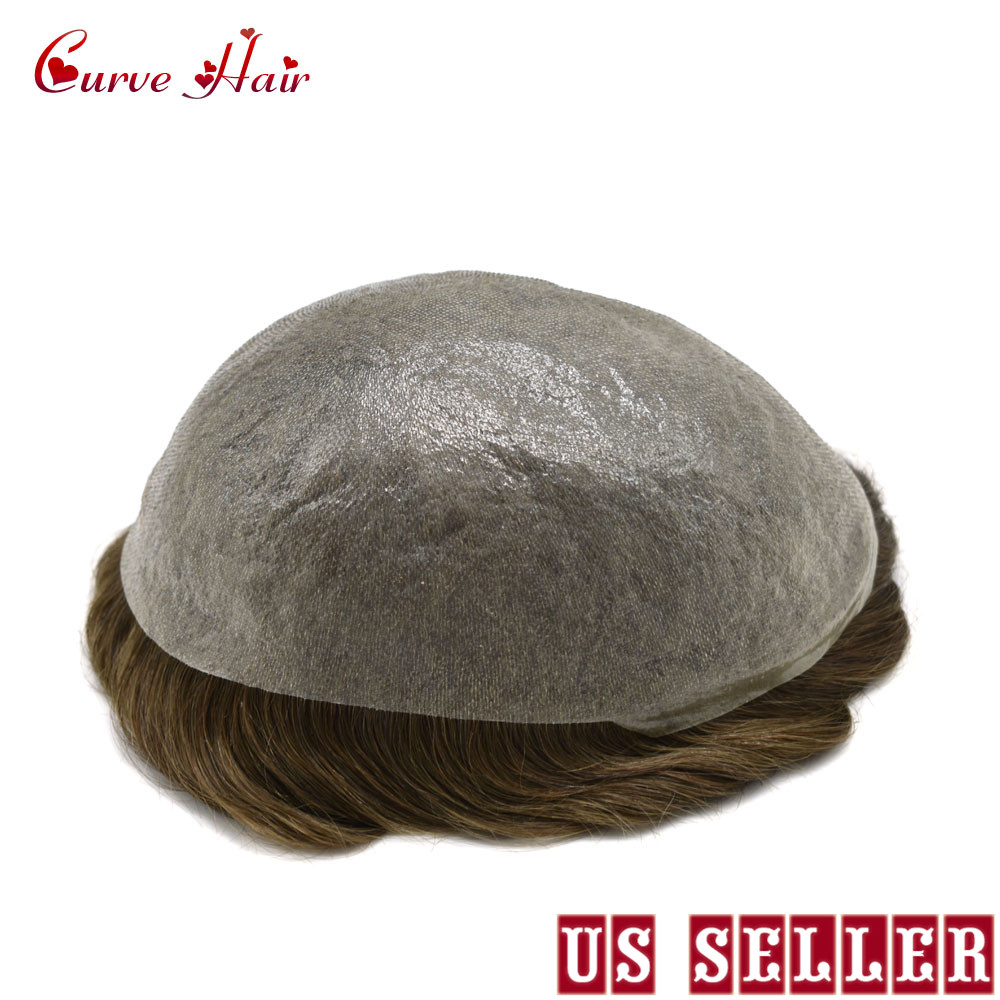 Ultra Thin Skin V-looped Men Toupee Full Poly Human Hair Wig All PU Hair System Light Brown Ash Tone Hairpiece 7ASH# 90% Density
