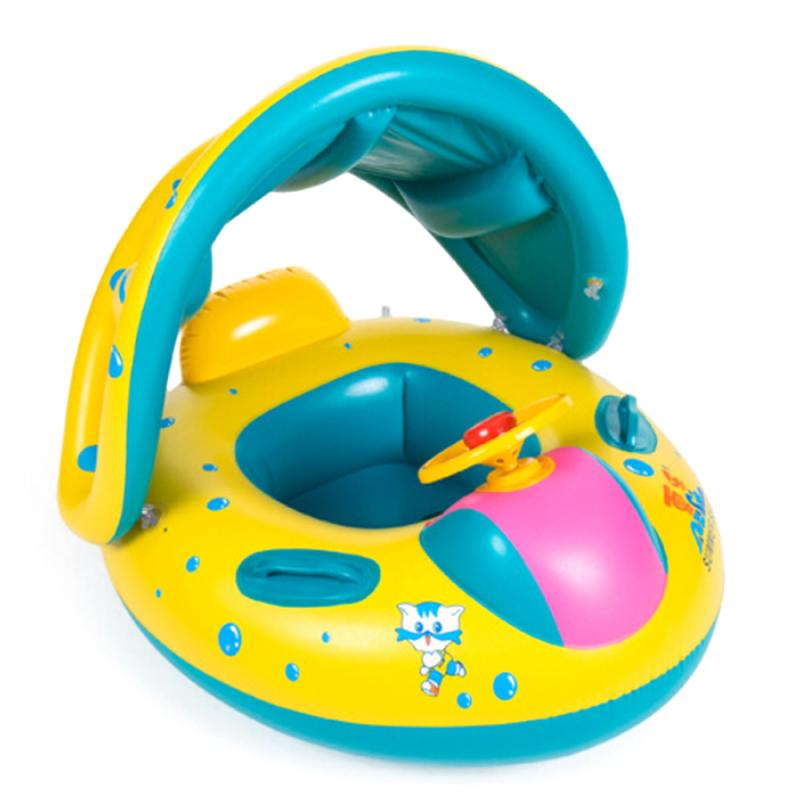 Baby Swimming Ring Inflatable Infant Floating Kids Float Swim Pool  Ring Safety Baby Float Adjustable Sunshade Seat Boat For Kid