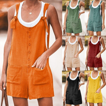 2020 new women's jumpsuit solid color patch pockets lace-up cotton and linen suspenders jumpsuit comfortable plus size jumpsuit new lace fly sleeved suspenders wear high waisted pants boot cut lace jumpsuit