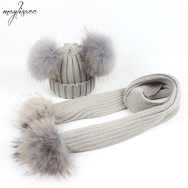 Maylisacc 2019 New Kids Real Raccoon Fur Ball Pompom Hat And Scarf Set BabyThickened Knitted Hat Scarf Set  Winter Accessories