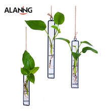 Creative Wall Hanging Flower Vase Iron Glass Transparent for Hydroponics DIY Plant Container Hanging Decoration