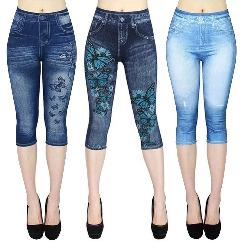 Jeggings For Women's Short Leggings 4\3 Perfect fit Faux Jeans Legging Summer Breeches Stretch High Waist Capri Pants Printed