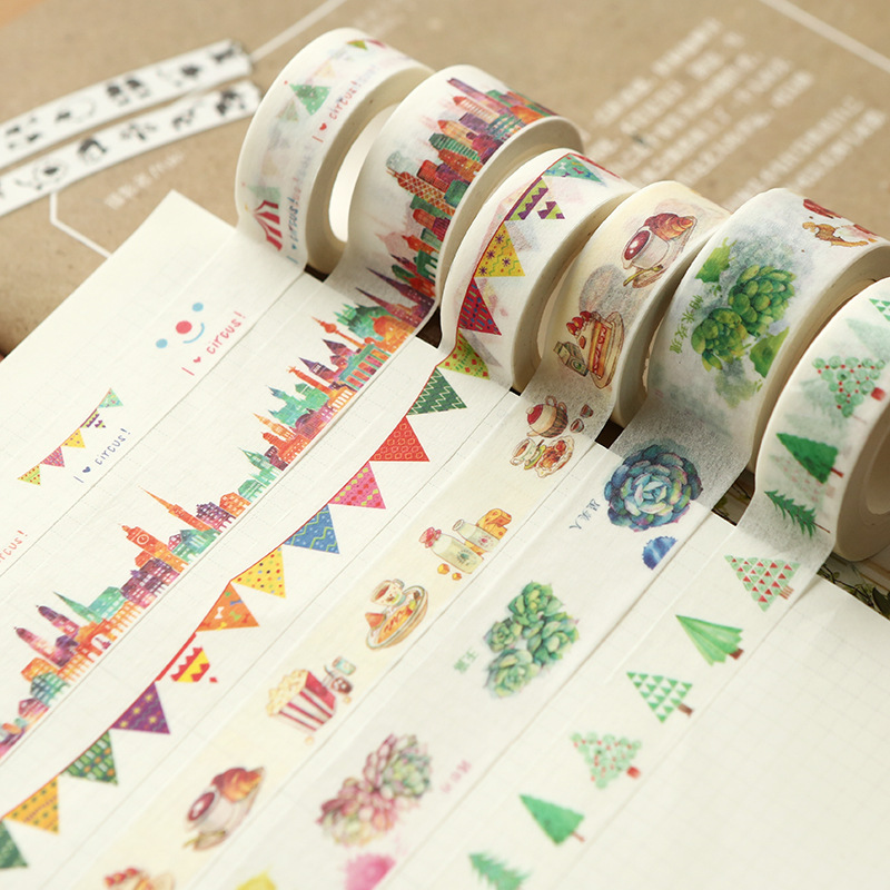 15/40mmx10m Watercolor Series Creative Washi Tapes Japanese Paper Cartoon Patterns Kawaii Cute Masking Tapes Students Stationery