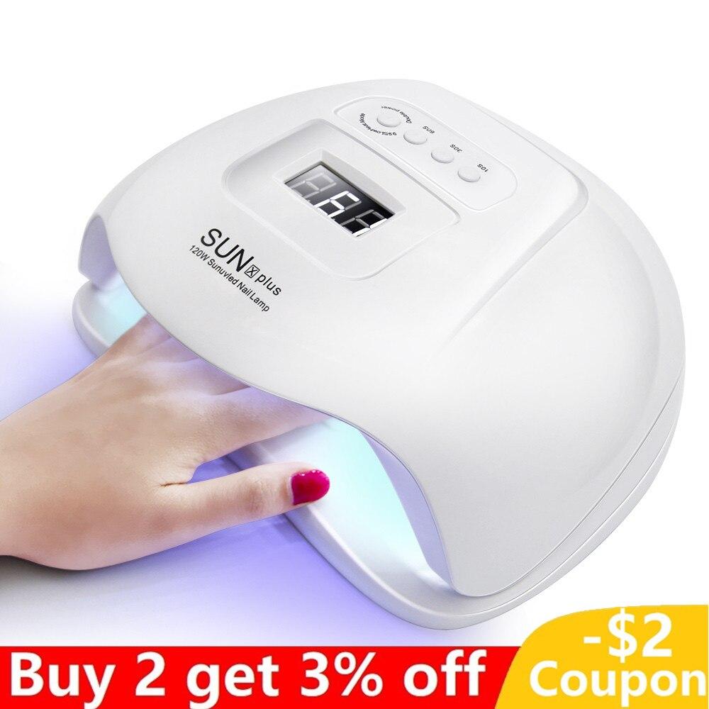 120W sèche-ongles professionnel lampe à uv LED avec affichage LCD 4 minuterie capteur automatique pour Salon d'art des ongles traitant tout le vernis à ongles