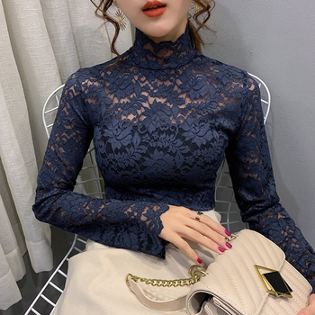 Girls Lace T-Shirts Tees Female Hollow Out Turtleneck Full Sleeve Elegant Stretchy Tshirt Tops For Women - discount item  10% OFF Tops & Tees