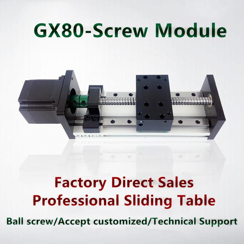 GX80 50-1200mm Effective Stroke 1204 1605 1610 Ballscrew 12mm 16m Linear Motion Guide Stage Moulde Rail+57 Nema 23 Stepper Motor