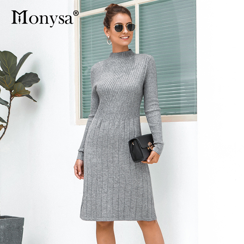 Casual Knitted Sweater Dresses Women New Arrival 2019 Autumn Long Sleeve Dress Ladies Knee Length Dress Winter Clothes 37