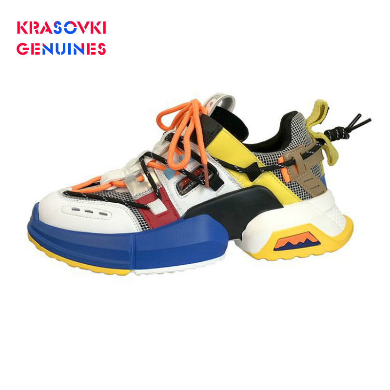Krasovki Genuines Sneakers Women Fashion Mixed Colors Dropshipping Breathable Shallow Lace Round Toe Slip Causal Women Shoes