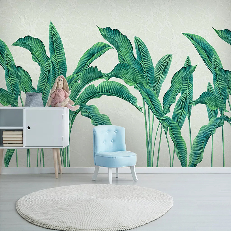 Hand Painted Green Leaf Custom 3D Photo Wallpaper For Bedroom Living Room Kitchen Background Wall Mural Wallpapers Home Decor