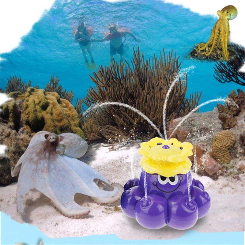Spray Water Octopus (Random Colour), Can Float Rotate With Fountain Bathtub Shower Pool Bathroom Toy Y4UD
