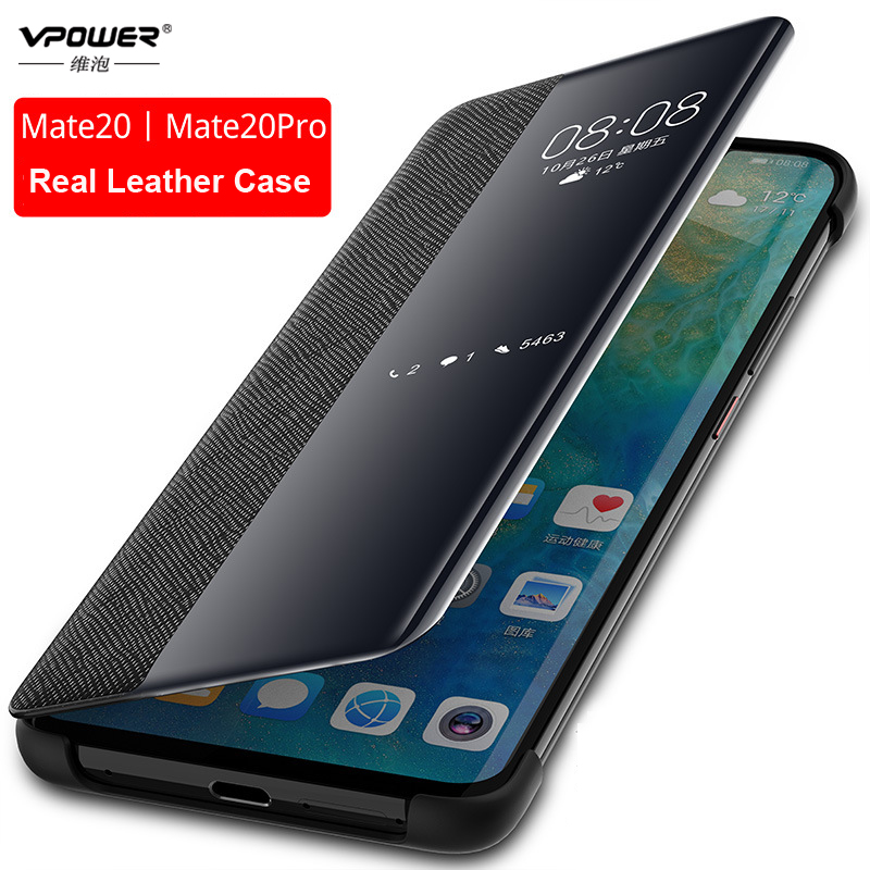 Genuine Leather Case For Huawei Mate 10 20 Pro Vpower Smart View Window Cross Patter Leather Flip Cases For Huawei Mate 20 Cover