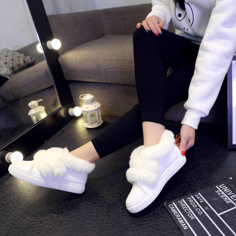 Vrouw Laarzen 2019 Winter Nieuwe Pluche Kleine Witte Schoenen Student Platte Bodem Warme Katoen Laarzen Allerlei Wol Casual laarzen