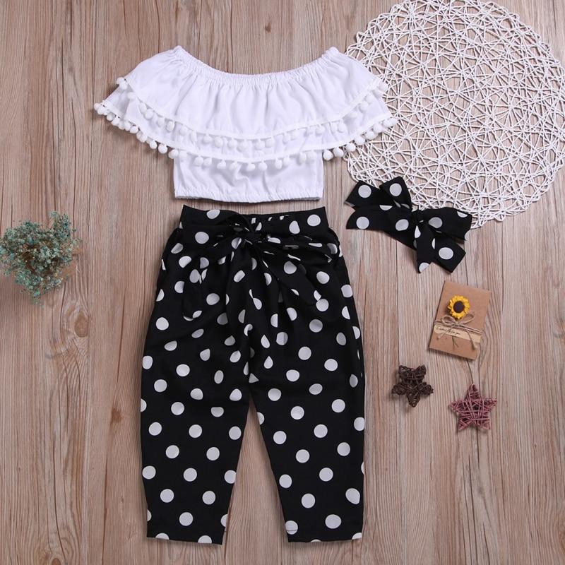 Summer Baby Girl Slash Neck Design Tops T-shirt With Polka Dot Print Pants Headband Kids Casual Outfits Set