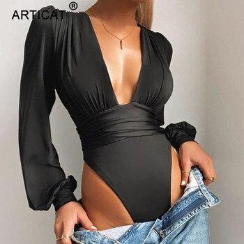 Articat-Body negro con escote en V profundo para mujer, Body Sexy de manga abombada, Body liso elástico informal para fiesta de invierno, bodys, Tops 7