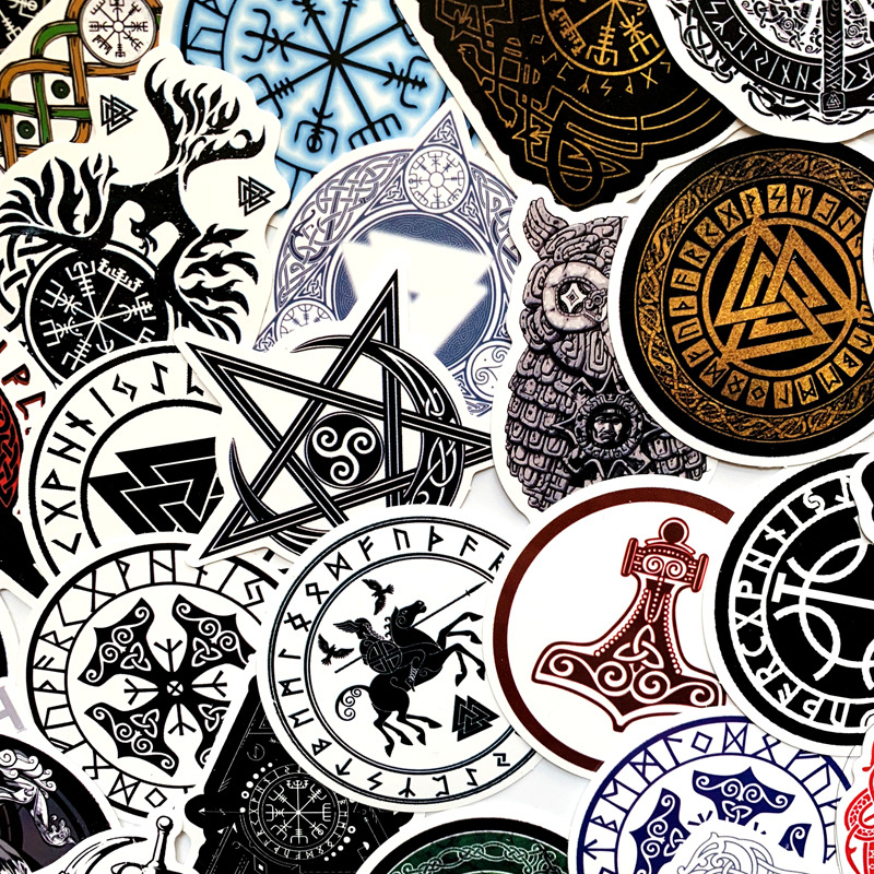 50Pcs Vikings Compass Stickers For Suitcase Luggage Laptop Skateboard Motorcycle Car Graffiti Guitar Decor Waterproof Sticker