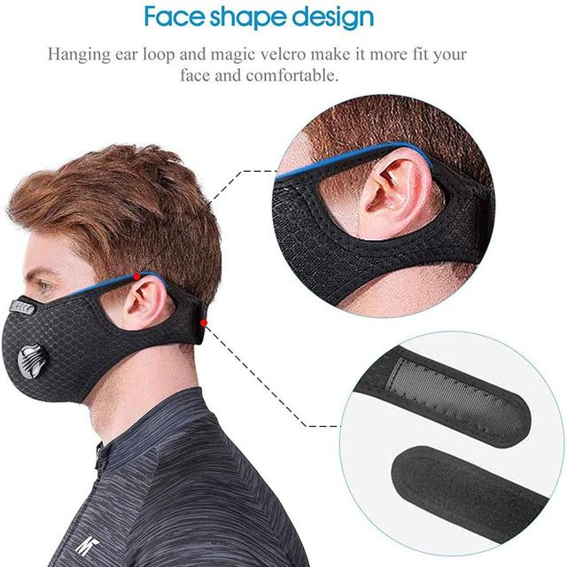 Mask With 4 Replacement Pad 2 Exhaust Valves Breathable Half Face Reusable Mask Face Cover For Cycling Outdoor Working Essential 4