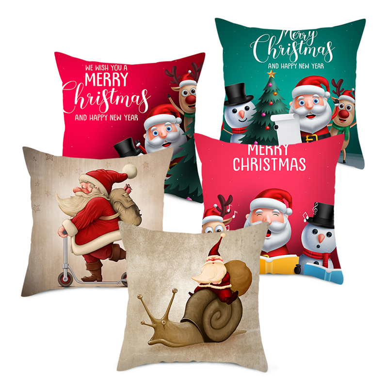 Fuwatacchi Christmas Gift Cushion Covers Cute Cartoon Santa Claus Pillow Cover for Sofa Home Decoration Throw