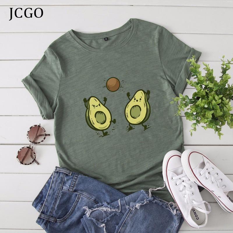 Jcgo verão algodão t camisa feminina plus size S-5XL engraçado abacate impressão o pescoço de manga curta simples tshirts casuais das senhoras t topos