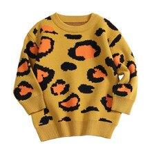 Pull à manches longues tricoté imprimé léopard pour bébés et filles, pull à la mode, pour enfants de 24M à 6 ans, automne, hiver