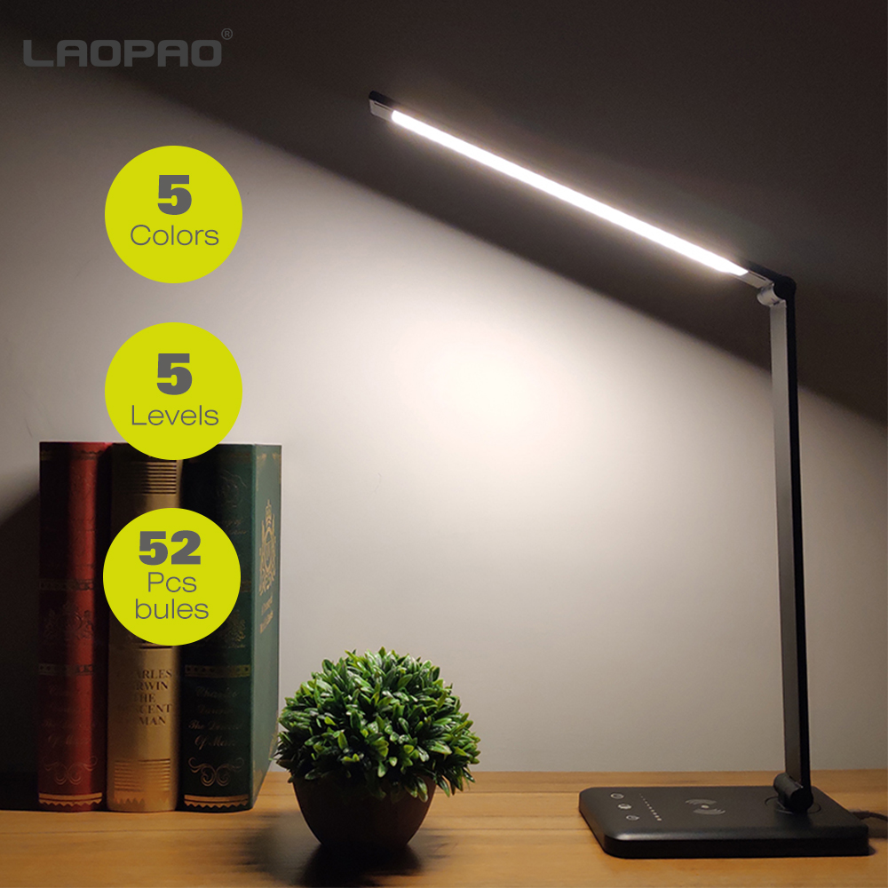 LAOPAO 52PCS LED Desk Lamp 5 Color Modes x5 Dimable Levels Touch USB Chargeable Reading Eye-protect with timer Led Table lamp