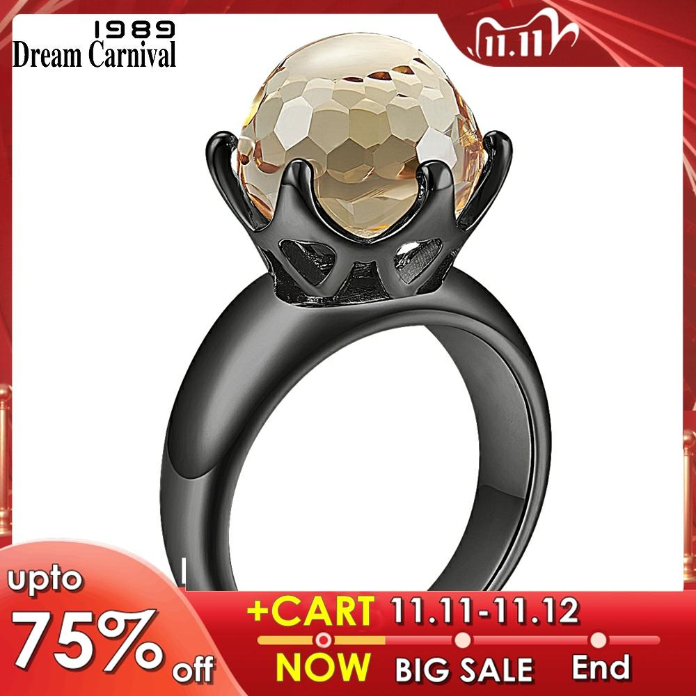 DreamCarnival 1989 New Special Cut Solitaire Women Love Engagement Ring Champagne Zircon 6 Prawns Crown Brown Jewelry WA11498BR
