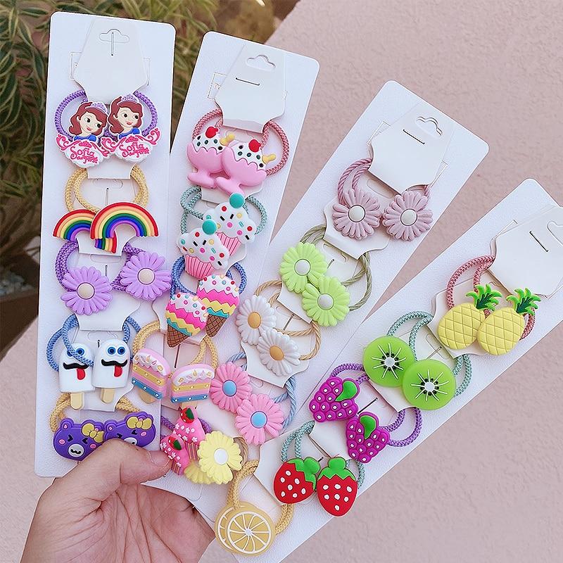 10/20Pcs/SetCartoon Animals Fruit Headbands For Kids Girls Elastic Hair Bands 2020 New Rubber Hair Accessories Fashion Jewelry