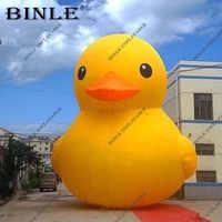 Divertido pato amarillo inflable grande clásico promocional gigante pato de goma inflable con logo gratis para decoración de parque