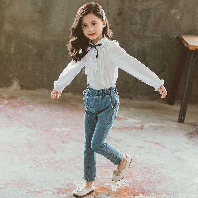 Childrens clothing new 2019 autumn white shirt+jeans 2pcs big girls clothing set autumn teens girls clothes jeans suit 2